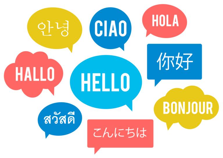 Bunte Sprechblasen mit Grußformeln in verschiedenen Sprachen